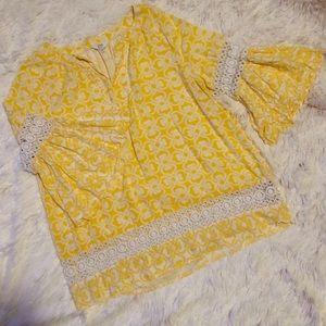 Crown & Ivy Ruffle Bell Sleeve Crochet Peasant Top